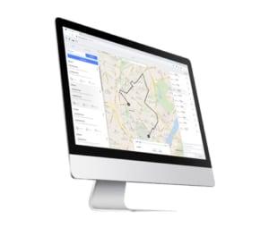 Computer viser skærmbillede af rute på kort